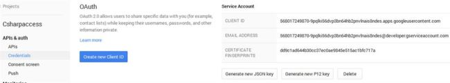 Created Service Account credentials