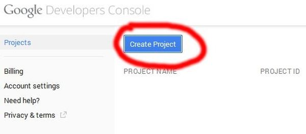 Creating Google Developers project