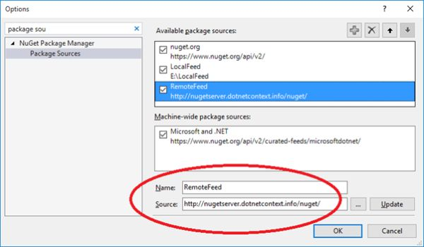 Add Remote Feed As A Package Source In Visual Studio