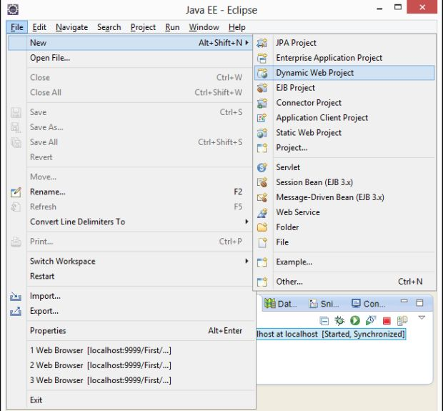 how to start tomcat server in eclipse