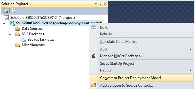 Convert to Project Deployment Model