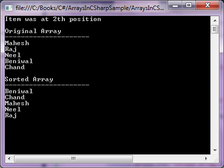 sort array in C#