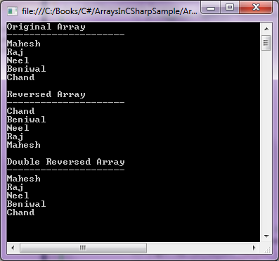 reverse array in c#