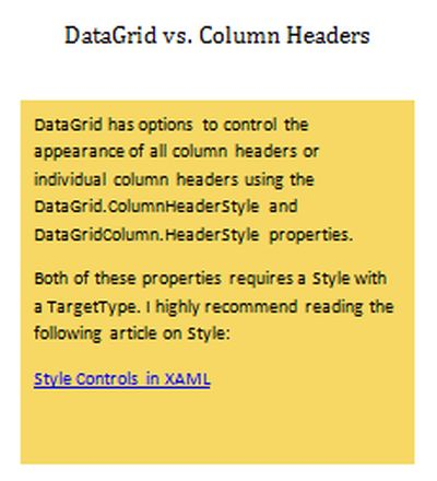 data grid vs column headers