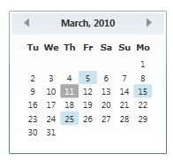 selected dates in a Calendar