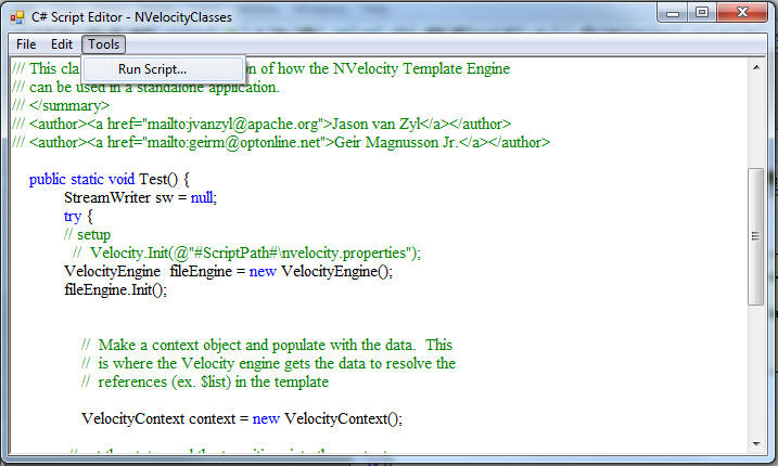Using NVelocity and WithClass to Generate C# Code