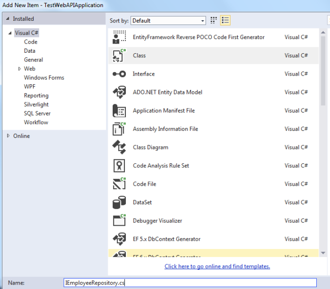 How to Create WEB API Using Repository in Visual Studio?