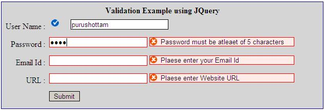 Validation Using Jquery With Asp
