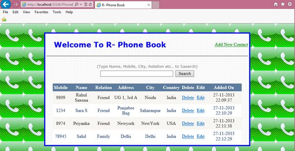 Contact list page