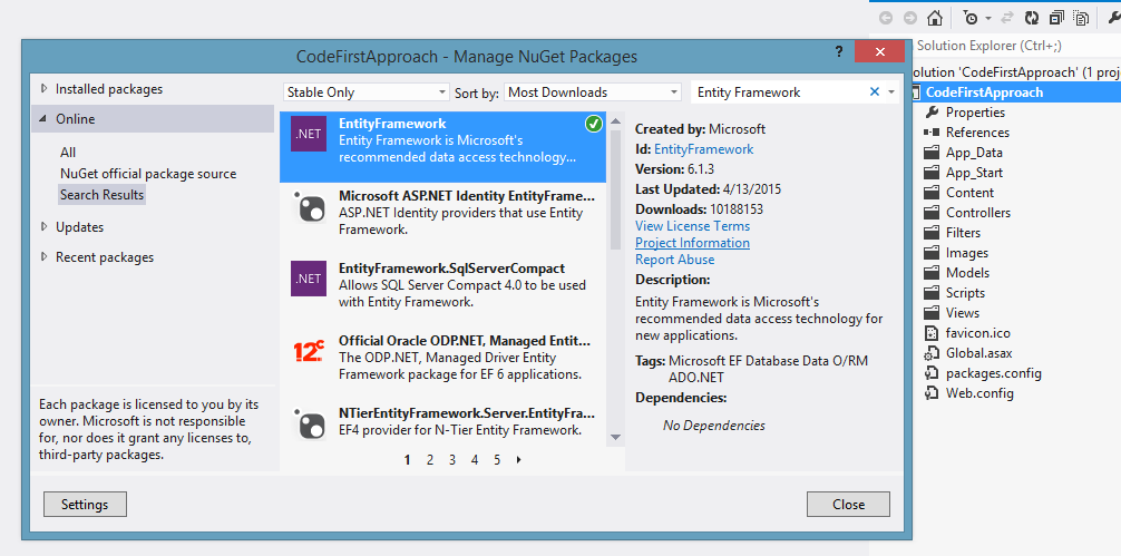 how to add entity framework reference in visual studio 2015