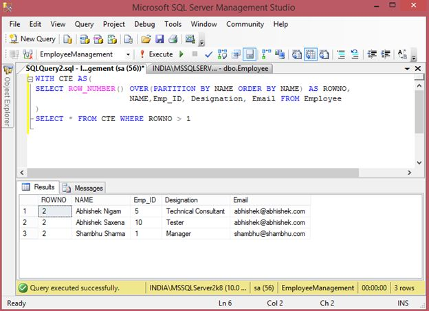 remove duplicate records from sql server table using