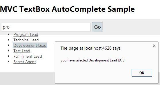 Select from AutoComplete Textbox in MVC