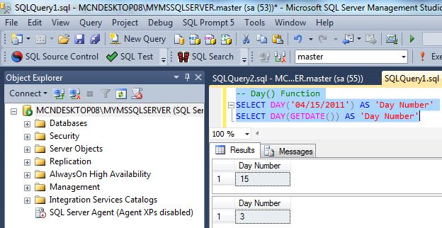 how to get day from date in sql