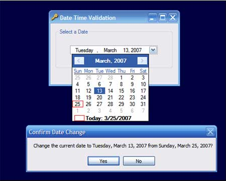 Validating the Date in a Date Time Picker Control