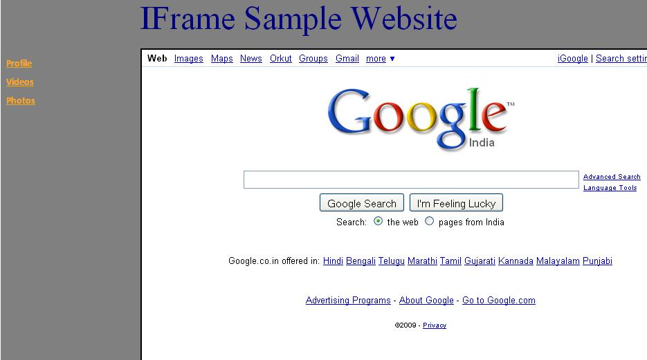 Develop the web site using iFrame model