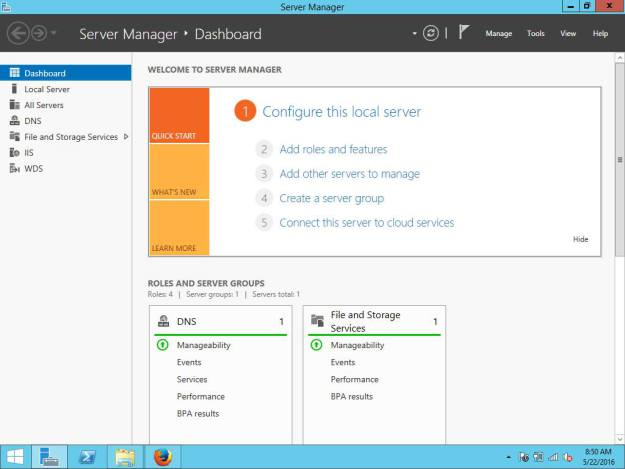 Server Manager application in Windows Server