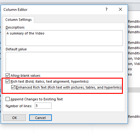 Add Multiple Lines Of Rich Text In SharePoint Library