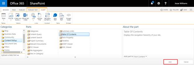 Add table of contents webpart in sharepoint online site once you select table of contents webpart click add to add the webpart on your page solutioingenieria Gallery