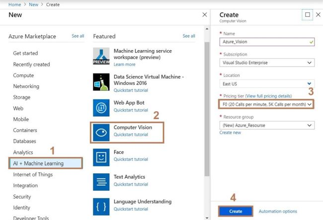 Android Application Interface with Azure ComputerVision API