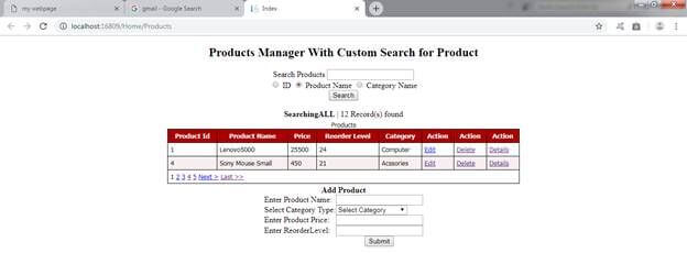 ASP.NET MVC WebGrid With CRUD Record From Two Tables And Custom Search Functionality Using Entity Framework Database First Method