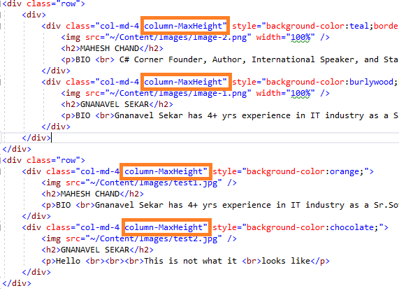 ASP.NET MVC 5 - Matchheight.js- Create Equal Height Of Columns In Row Using jQuery