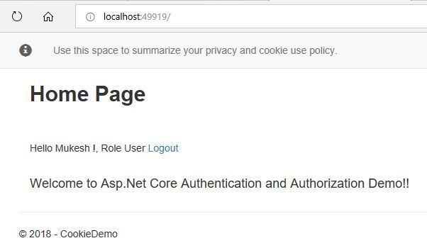 Authentication And Authorization In ASP.NET Core MVC Using Cookie