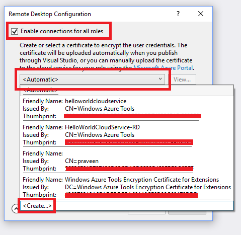 Azure Cloud Service - Create Self Signed Certificate Using Visual Studio