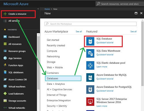 create and connect to Azure SQL Database