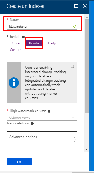 Azure Search - creating the indexer