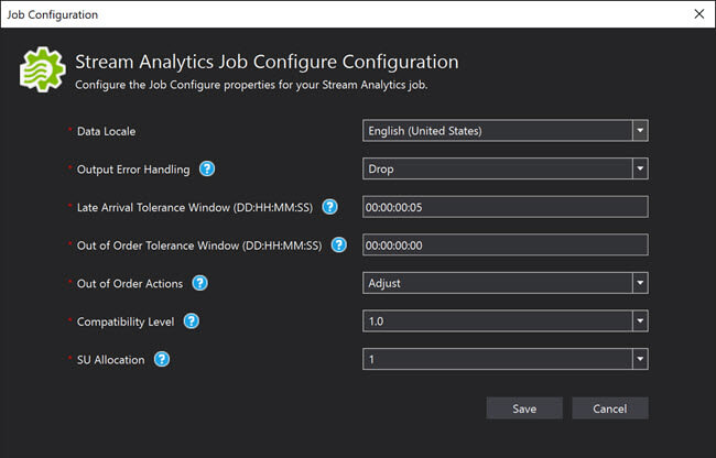 Azure Stream Analytics Job and Tools for Visual Studio
