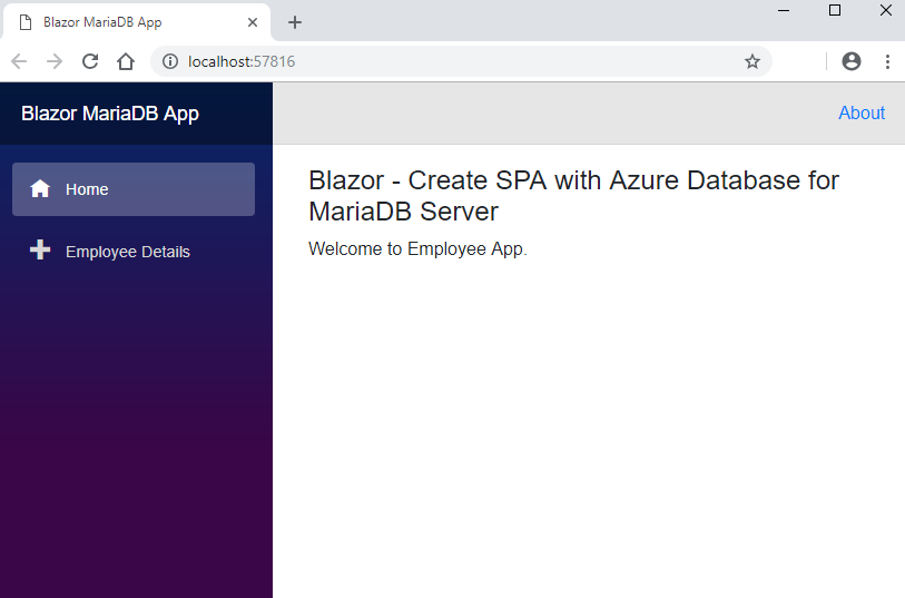 Blazor - Create SPA with Azure Database for MariaDB Server