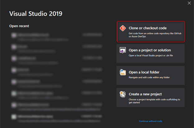 Clone Project With Visual Studio 2019