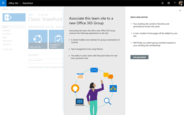 Connect SharePoint Site to Office 365 Group