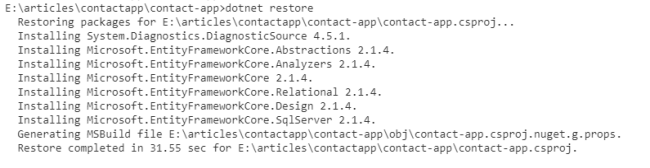 Contact Application - Upgrade ASP.NET Core 2.0 To 2.1