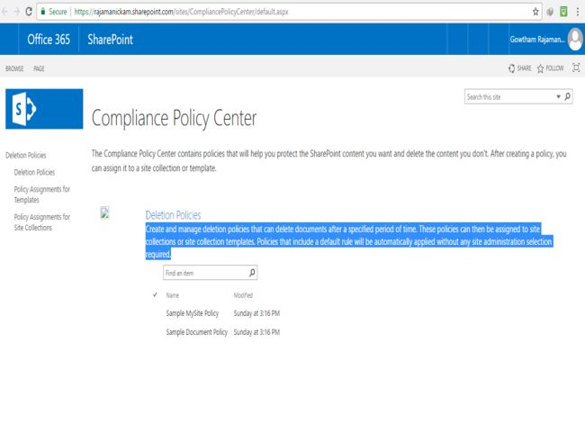 Create Compliance Policy Center Site Collection In SharePoint - Office 365 sharepoint templates