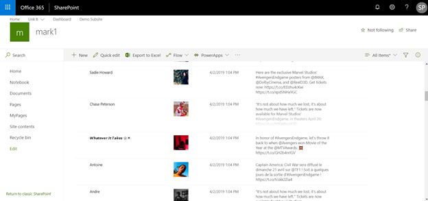 Create SharePoint List Items From Twitter Hashtags