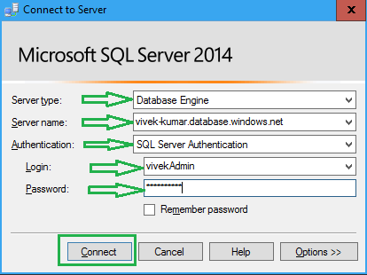 how to connect sql db on azure
