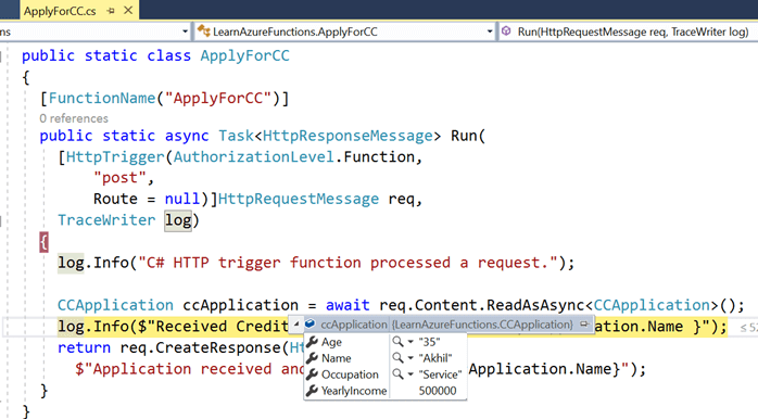 Creating Azure Functions In Visual Studio 2017 - HTTP Triggered Azure Functions