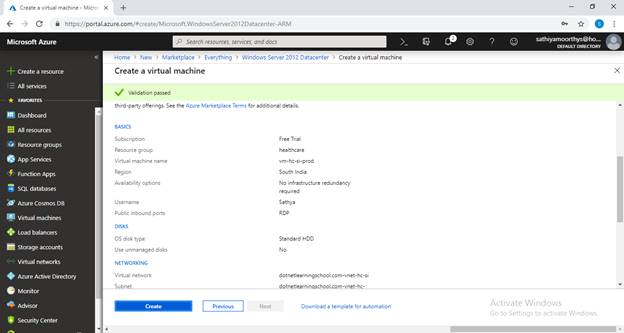 Creating Virtual Network And Virtual Machine On Azure