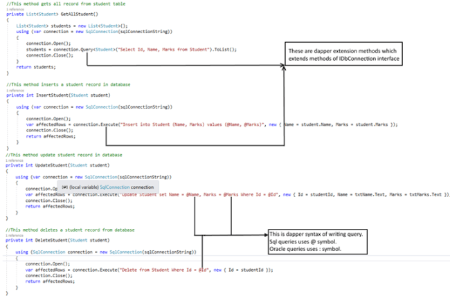 CRUD Operation Using Dapper In C#