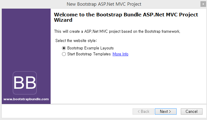 Customizing asp mvc bootstrap templates select the bootstrap example layouts and click next button maxwellsz