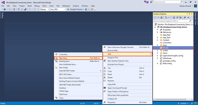 Database Connectivity With And Without Entity Framework In MVC