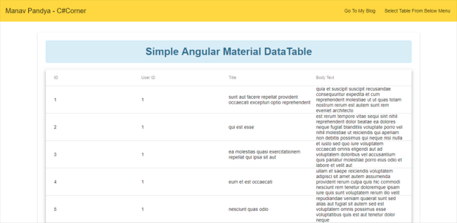 Angular Material Datatable With Angular 6 Part One