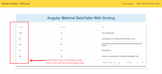 Angular Material Datatable