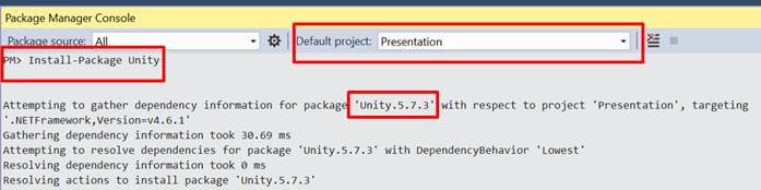 Dependency Injection Using Unity