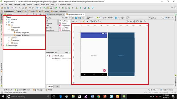 Design Of Android Using Android Studio