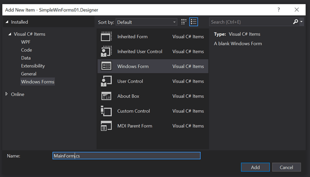 Designing WinForms For .NET Core 3.0
