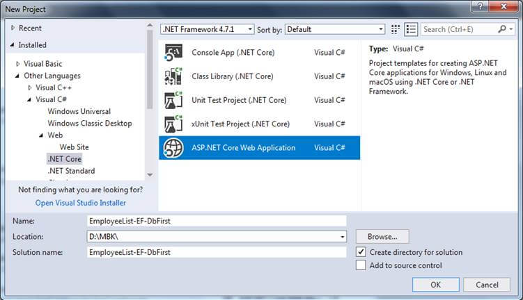 Entity Framework Database First In ASP.NET Core