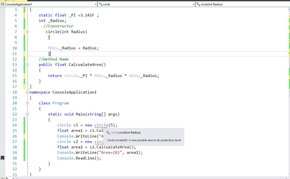 how to create instance of class in c