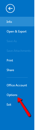 Options in Outlook